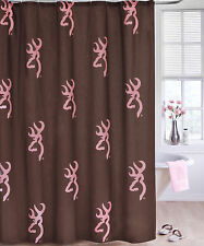 Browning Buckmark Pink & Brown Shower Curtain, Bath