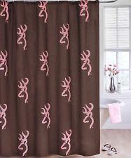 Browning Buckmark Pink & Brown Shower Curtain, Bath
