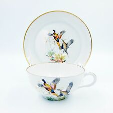 Pheasant Cup and Saucer Set Limoges France Tea Coffee Game Bird Raymond Paris