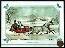 Vintage Currier & Ives Sled Horses Snow Trees - Christmas Greeting Card Unused