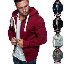 Men's Solid Color Zip Up Hoodie Classic Winter Hooded Sweatshirt Jacket Coat TOP