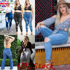 Plus Size Women Ripped Denim Jeans Stretch Skinny Fit High Waisted Pants Jegging