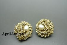 Vintage Miriam Haskell faux seed baroque pearl beaded filigree earrings