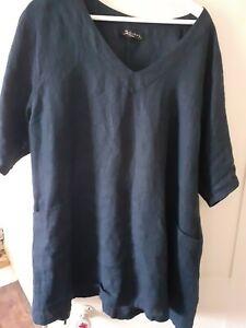 Kasbah Dark Blue Linen Tunic 20/22