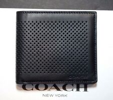NWT Coach Men's $150 Perforated Leather Double Billfold Black Wallet F75278