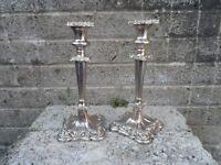 Antique Georgian old Sheffield plate silver candlesticks - circa 1830 10 inch