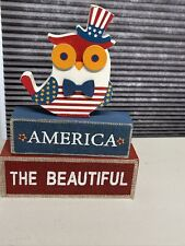 Fourth Of July Decor Owl. 9 Inches In Length