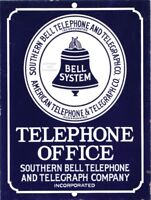 "Southern BELL Telephone Telegraph Vintage Aluminum Sign 9"" x 12"""