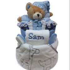 New Born Baby Boy Personalised Delux Gift Nappy Cake