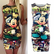 Women's Camouflage Bodycon Dress Summer Party Evening Casual Short Mini Dresses