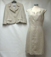 HOBBS LONDON 100% LINEN OATMEAL DRESS JACKET SUIT LINED DRY CLEANED UK 10