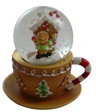 Gisela Graham Christmas Decoration - Gingerbread Teacup Snowglobe - Mini globe