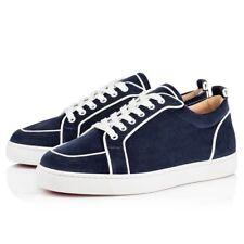 NIB Christian Louboutin Rantulow Orlato Flat Mens Blue White Low Top Sneaker 40