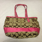 EEUC Coach Signature Stripe Multifunction Diaper Baby Tote Bag F13803 Khaki Pink