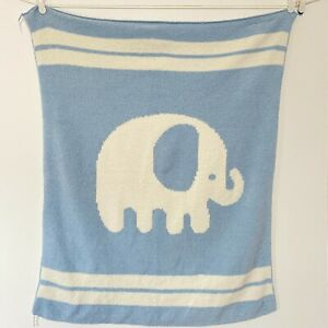 Lambs & Ivy Elephant Blue White Baby Blanket Chenille Sweater Knit Stripes Lovey