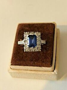 Vintage Antique Art Deco? 9ct Gold Sapphire & Diamond Paste Ring Size L