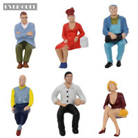P2507 6pcs G scale Figures 1:22.5-1:25 All Seated  Painted People Model Railway
