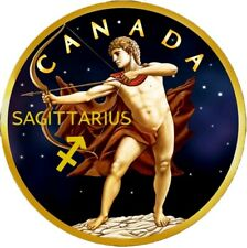 2018 Canada 5$ ZODIAC SAGITTARIUS MAPLE LEAF 1 Oz Silver Coin, 24kt Gold Gilded.