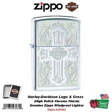 Zippo Harley-Davidson Lighter High Polish Chrome w/ Cross & Harley Logo #28982