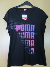 Puma T-Shirt Shirt Baumwolle, schwarz mit Logo in rosa lila silber Gr. L 40