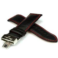 RetroChron Ersatzuhrband Lederuhrarmband schwarz rote Steppung - 26 mm