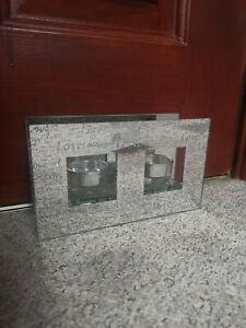 """Silver Mirror with Love detail x2 Tea light Candle Holder ~ Approx 7.5"""" x 4.5"""""""