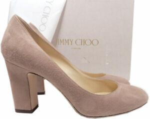Jimmy Choo Billie Block Heel Pumps Shoes Taupe Brown Suede 38 - 7