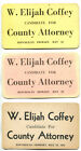W. ELIJAH COFFEE FOR COUNTY ATTORNEY (R) - 3 Vintage Political Campaign Cards