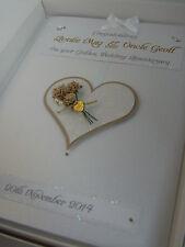 Personalised Golden 50th Wedding Anniversary Card, Swarovski crystals, boxed