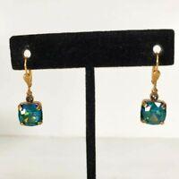Blue Green Glass Dangle Earrings Vintage Vibe