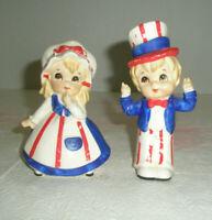 Vintage LEFTON Figurines Patriotic Girl and Boy Need TLC