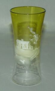 ANTIQUE Yellow Glass BEAKER Enamel Decorated WHITTIER BIRTHPLACE Haverhill MA