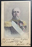 1900s Sweden Picture Postcard Cover To Pittsburg PA USA USA King Oscar II