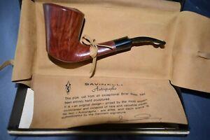 SAVINELLI Autograph Prestigious Pipe-O-RARE-MINT-NON SMOKED-Hand Crafted-1980's