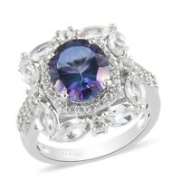 Platinum Over 925 Sterling Silver Petalite Promise Ring Jewelry Ct 3.6