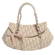 100% Authentic Christian Dior Trotter Romantique Beige Monogram Canvas Flap Bag