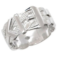 Buckle Ring Men's Gents Solid Sterling Silver 10mm Wide Patterned Wedding Band