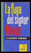 GEORGES SIMENON LA FUGA DEL SIGNOR MONDE MONDADORI IL GIRASOLE 1959 1° EDIZIONE