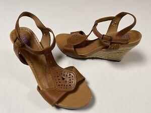 Clarks Indigo Comfort Brown Leather Wedge Slingback Sandals Women's 11M