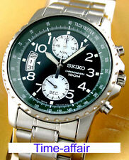 Seiko Men Chronograph SNN077 SNN077P1 Green Dial 100m Steel Watch