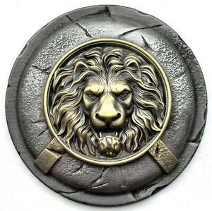 Spartan shield with lion head wall decor, Lion on greek shield wall art gift