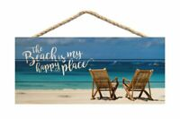 The Beach is My Happy Place Printed 10 x 4.5 Wood Wall Hanging Plaque Sign