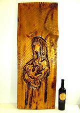 "XL LOG WOOD PLANK CARVING OF JESUS CHRIST WITH LAMB 43.5"" TALL"