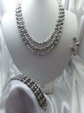 1960s CROWN TRIFARI Electra Parure Necklace, Bracelet, Earrings - Silver-tone