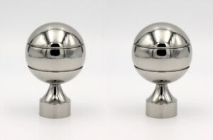 Pair Of 28mm Curtain Pole Mix & Match Finials Chrome Styled Ball