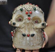 Old Tibet Natural Crystal Silver Filigree inlay gem Cranium Skull Head Statue