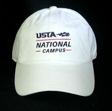 USTA NATIONAL CAMPUS White Adjustable Hat Embroidered Cotton Tennis Cap >NEW<