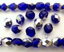50 4mm Czech Glass Firepolish Beads: Silver/Cobalt