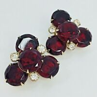 Vintage Red Rhinestone Earrings Round Prong Set Crystal Clip On