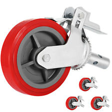 """Scaffold Scaffolding Casters 8"""" x 2"""" Set of 4 Locking Polyurethane Wheel Swivel"""